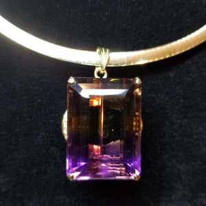 62ct Bolivian Ametrine Pendant in 18kt Gold Custom Mounting with .25ct of Diamonds.