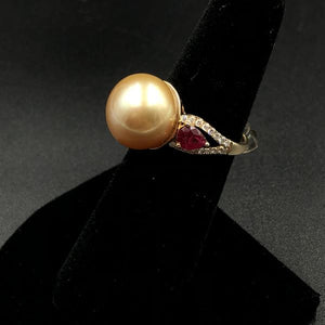 12.5mm Golden South Sea Pearl Ring with .95ctw Rubies and Diamonds.