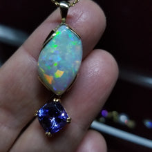 Load image into Gallery viewer, 12.5ct Australian Boulder Opal Pendant with 3.73ct Flawless Tanzanite