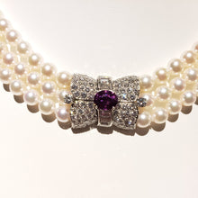 Load image into Gallery viewer, Three Strand 17 inch 6.5-7mm new AAA+ quality Akoya Pearl Necklace with Vintage Sapphire and Diamond Clasp.