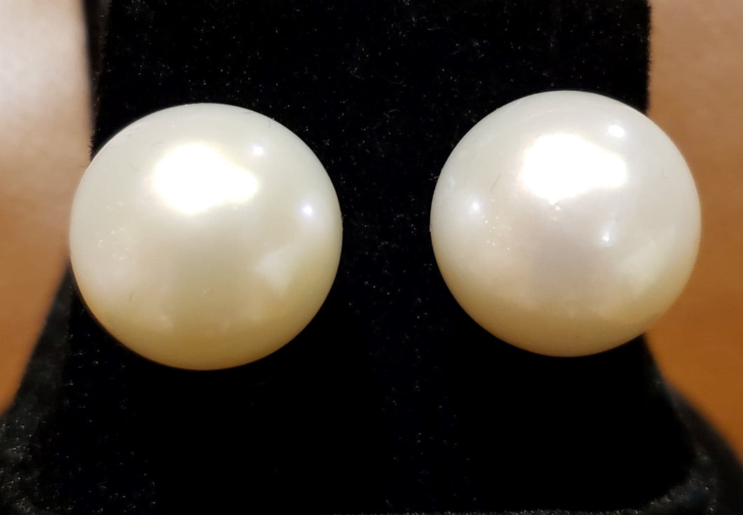 Very Rare Large 15.5-16mm White, Round and Clean South Sea Pearl Earrings in 14kt White Gold.
