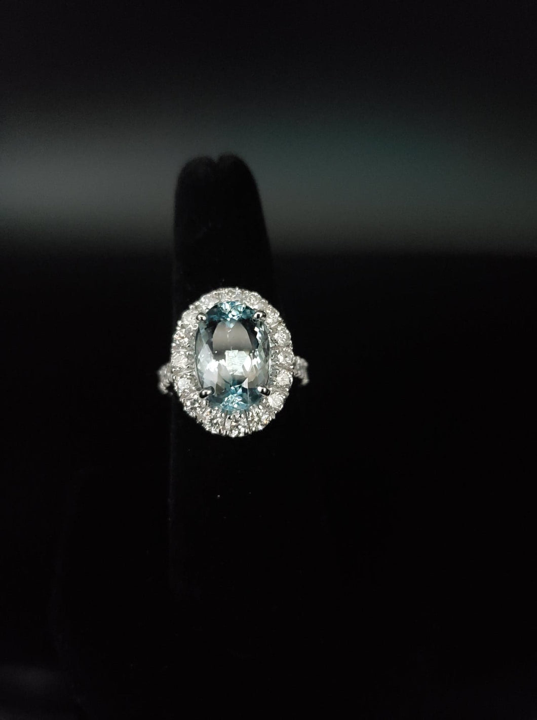 Fine Estate 5.13ct Light Blue Aquamarine Ring in 14kt White Gold with 1.90ct SI G Color Fine Diamonds.