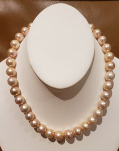 Estate Beautiful Rare Pink Champagne 11-13mm Clean Round Cultured Pearl 18 inch Necklace.