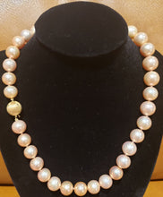 Load image into Gallery viewer, Estate Beautiful Rare Pink Champagne 11-13mm Clean Round Cultured Pearl 18 inch Necklace.