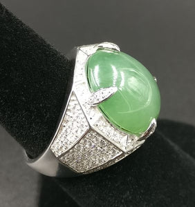 Rare 14ct GIA Certified Green Jadeite Ring in 18kt Gold Custom Mounting with 1.85ct of Diamonds