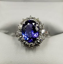 Load image into Gallery viewer, 3.5ct Oval Tanzanite Ring with 1 full carat VS-SI G-H Color Diamonds