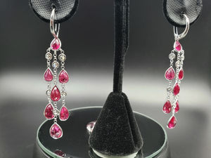 76d9e6f4a Very Rare 15.5twct GIA Certified Burmese Ruby Chandelier Earrings with  0.92ct Diamonds.
