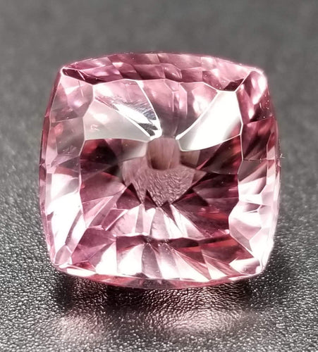 10.33ct Square Cushion /Concave Spiral Starburst Nigerian Pink Tourmaline Cut by Mark Gronlund.