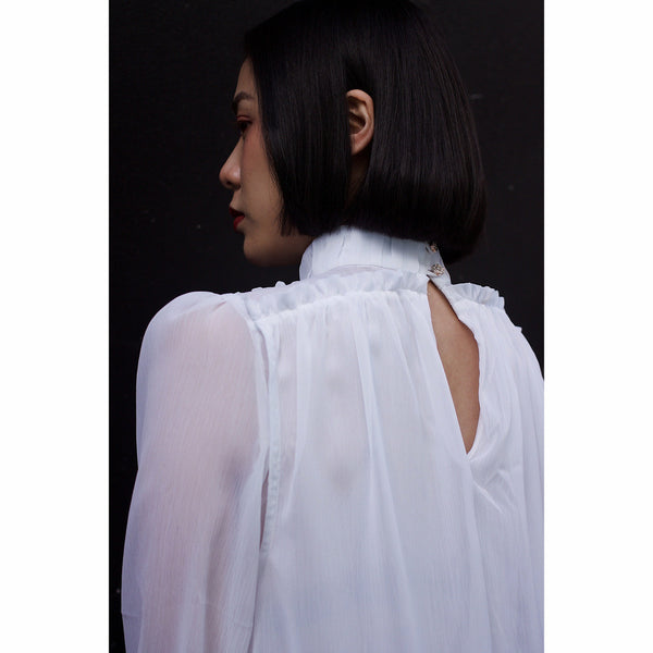 High neck blouse - White