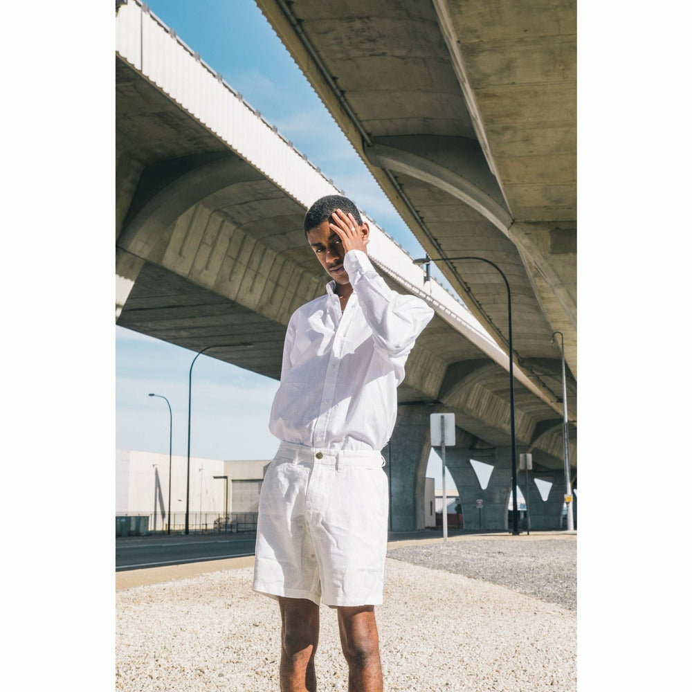 Holiday Linen Shorts - White