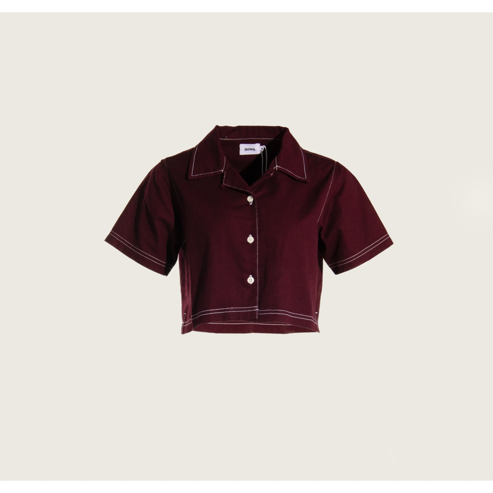 Cropped Sunday Collar in Bordeaux