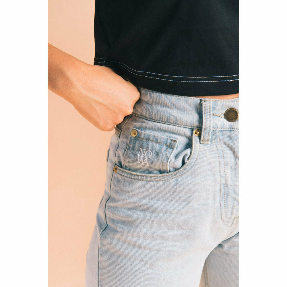 High Waisted Straight Leg Jean - Light Blue