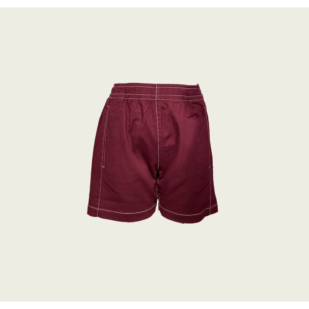 Twill shorts with Contrast Stitching - Bordeaux