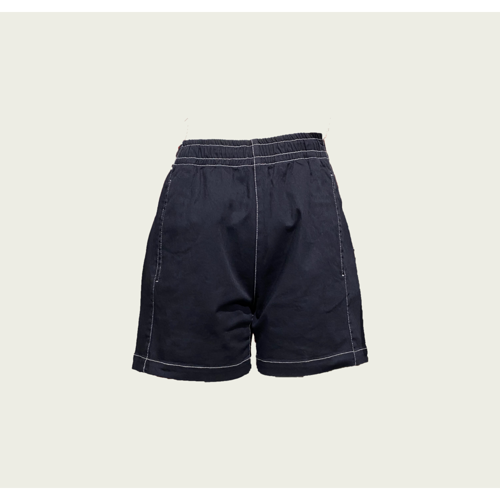 Twill High Shorts with Contrast Stitch - Marine