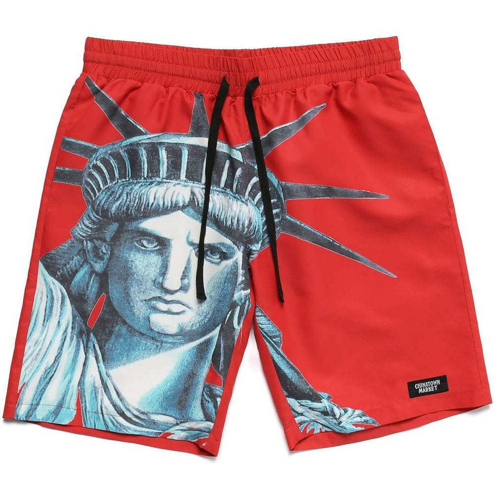 NYC Nylon Shorts - Red - nowa.