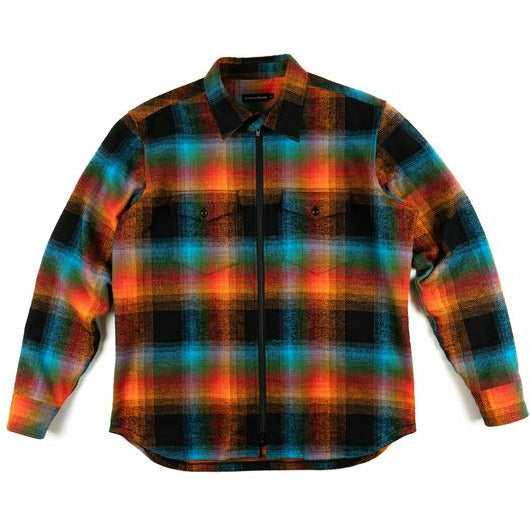 Double Plaid Flanel Zip Shirt