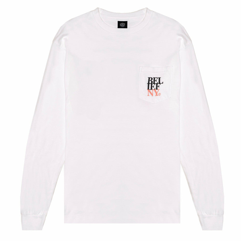 Stacked L/S Pocket tee - White - nowa.