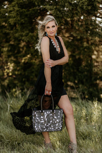 Black Leather Calavera Tote