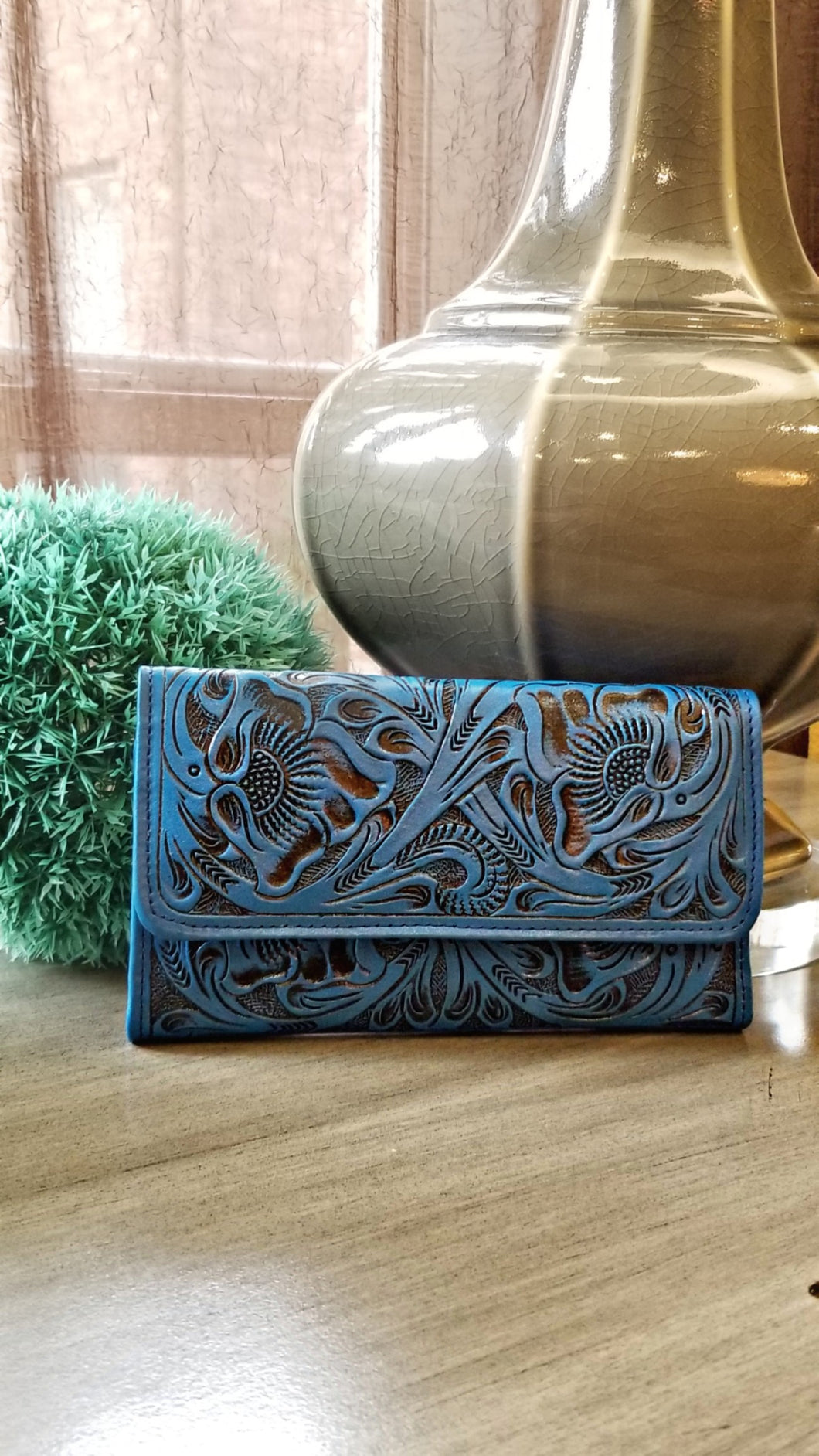 Blue Trifold Wallet
