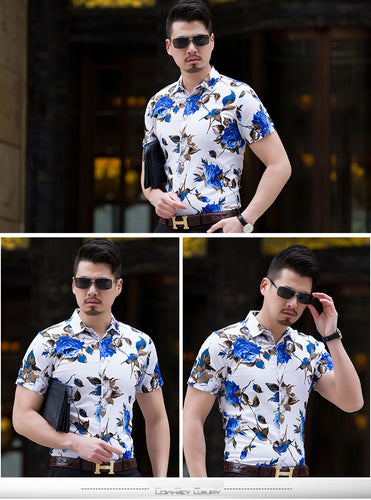 Summer Fashion Mens Shirt Slim Fit Short Sleeve - www.pllaka.eu