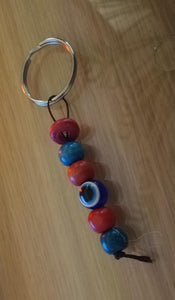 Large bead mini evil eye keyring