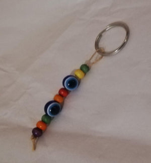 Small beaded evil eye keyring