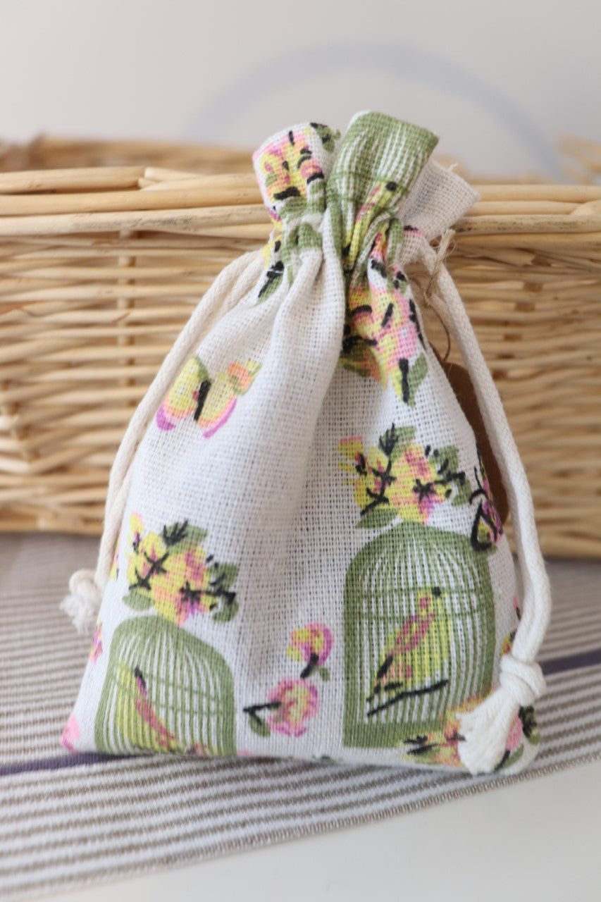 Bird in vintage cage Lavender Bag