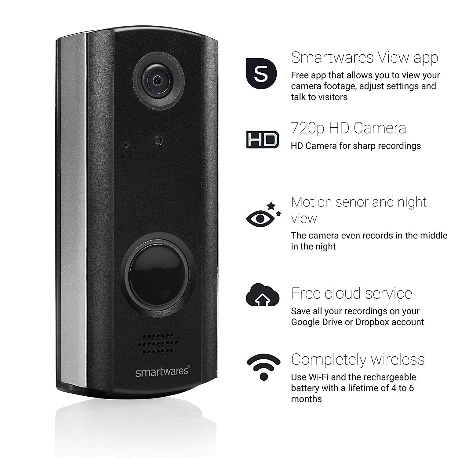 Byron WiFi Rechargeable Video Doorbell & Portable Chime Kit