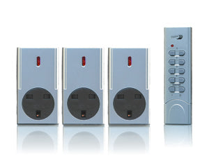 Smarthome Remote Control 3 Pack Socket Kit, Silver
