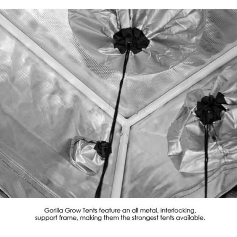 Gorilla Grow Tent Shorty- Inside view of cinching ports