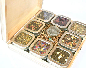 Tea Tin Sampler Gift Set, 8 Tins of Loose Leaf Tea - The Cured Company