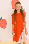 Panel Dress - Orange and pink