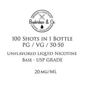 100 Nicotine Shots in one Bottle  / 1000 ml - 20 mg