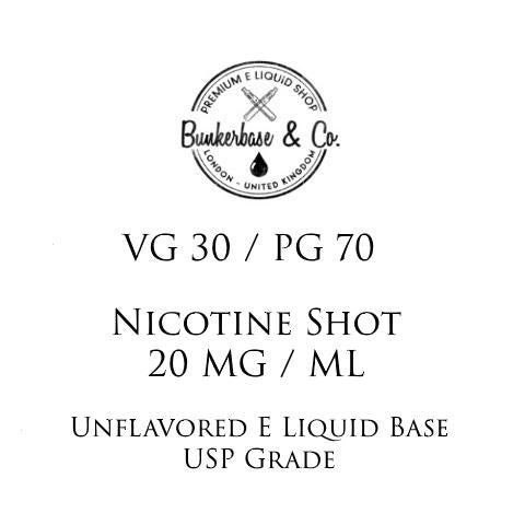 PG 70 / VG 30 Nicotine Shots - 10 x 10ml / 20 mg