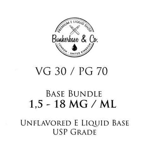 500 - 1000 ml PG 70 / VG 30 Nicotine Base Bundle 3 - 18 MG / ML