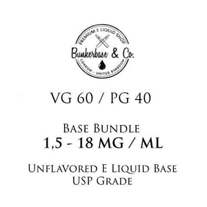 500 - 1000 ml VG 60 / PG 40 Nicotine Base Bundle 3 - 18 MG / ML