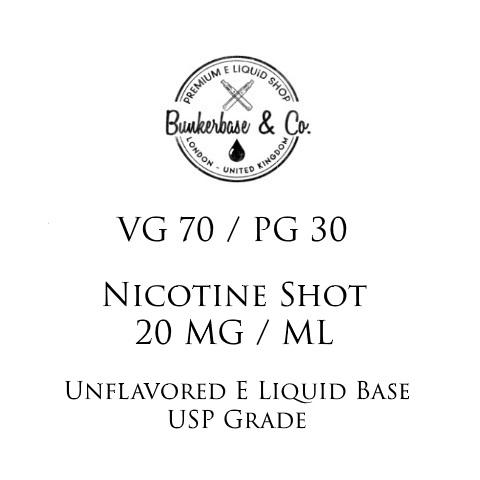 VG 70 / PG 30 Nicotine Shots - 10 x 10ml / 20 mg