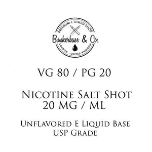 VG 80 / PG 20 Nicotine Salt Shots - 10 x 10ml / 20 mg