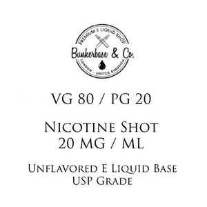 VG 80 / PG 20 Nicotine Shots - 10 x 10ml / 20 mg