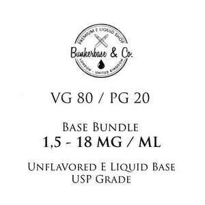 500 - 1000 ml VG 80 / PG 20 Nicotine Base Bundle 3 - 18 MG / ML