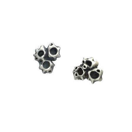 sterling silver 3 barnacle cluster stud earrings