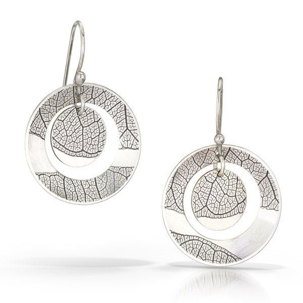 Leaf Earrings with Cut-out & Charm