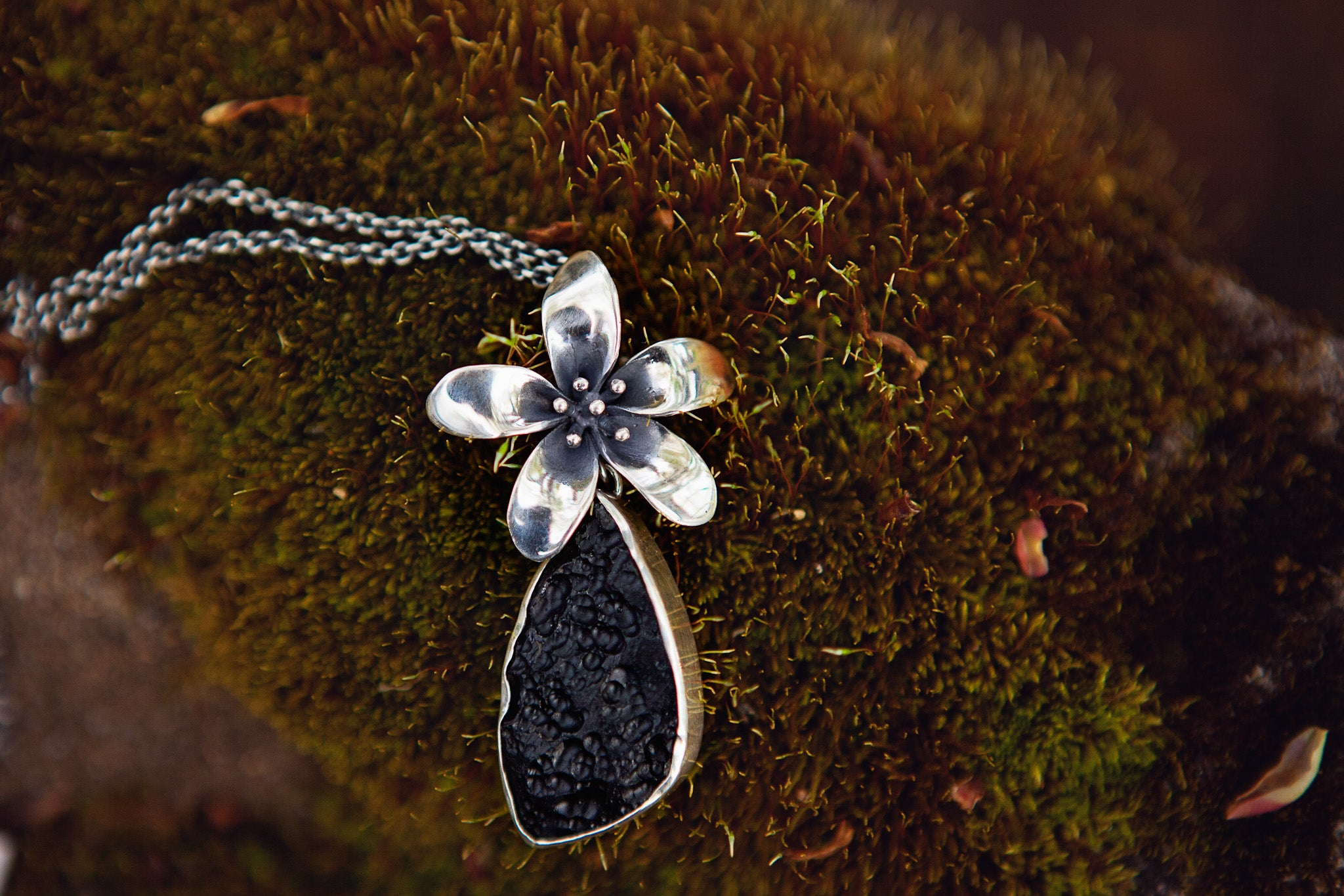 Cherry Blossom & Tektite Necklace