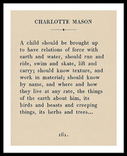 Load image into Gallery viewer, Charlotte Mason- Vintage Book Page - Framed Print
