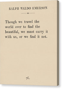 Emerson Travel Quote - Canvas Print