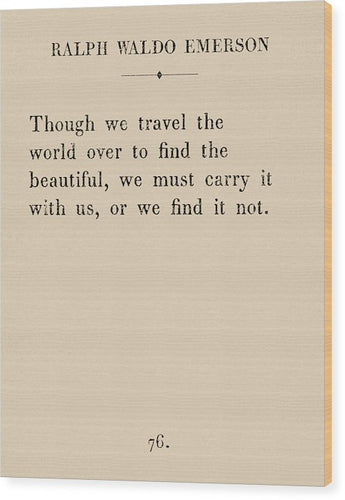 Emerson Travel Quote - Wood Print