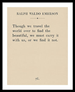 Emerson Travel Quote - Framed Print