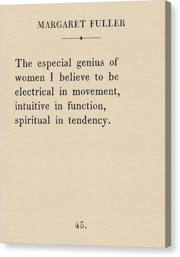 Margaret Fuller- The Genius Of Women - Canvas Print