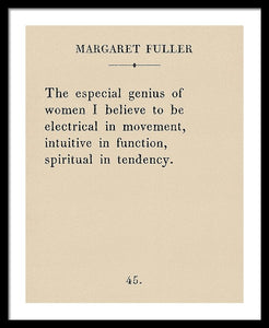 Margaret Fuller- The Genius Of Women - Framed Print