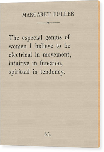 Margaret Fuller- The Genius Of Women - Wood Print